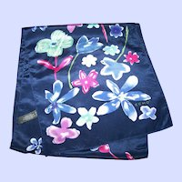Designer Signed ECHO Silk Floral Pattern Fashion Scarf Long Rectangular