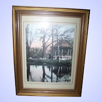 Framed Tinted Photograph Signed W.R. Mac Askill Halifax Gardens 1927