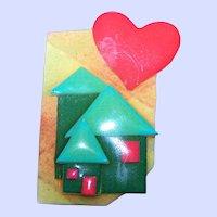 Fun Hand Made Gently Used  Lucinda House Brooch Pin Portland Maine