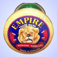 Advertising Tin Litho  Empire Sewing Thread Tin  Can Silver Crane Co MI England