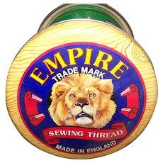 Advertising Tin Litho  Empire Sewing Thread Tin  Can Silver Crane Co MI England