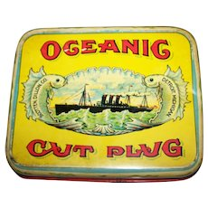 A Great Vintage Advertising Tobacco Tin For Oceanic Cut Plug CHIENCO