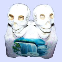 Macabre Skull  Skeleton Nodders Salt & Pepper Shakers Niagara Falls Souvenir Patent T.T.