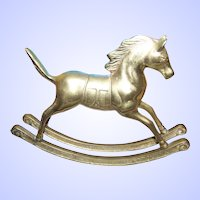 A Decorative Brass Metal Ware Rocking Horse Statue Figurine 6 by 8 Inches
