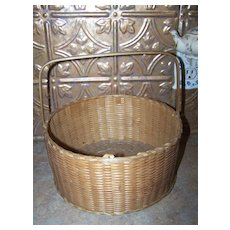 Vintage Hand Woven Sweet Grass Basket with Original handle