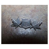 Sterling  Token Of Love Lapel or Collar Pin Shield Maple Leaves Engraved