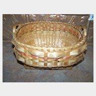 A Vintage  Mi'kmaq Native  Hand Woven BasketWith Handles