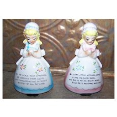 Collectible   Vintage Japan Gift Craft  Prayer Salt & Pepper Shakers Kitchen Decor Accent