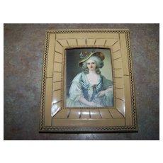Vintage Decorative Lady Portrait Print  in Celluloid Framed Home Decor Treasure