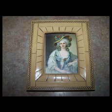 Vintage Decorative Lady Portrait Print  in Celluloid Framed Home Decor Treasure