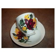 Red & Yellow  Roses Tea Cup & Saucer Sanford England