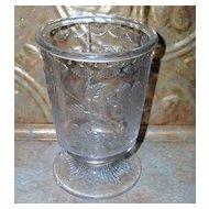 Vintage Nova Scotia  Pressed Glass Spooner Floral Pattern