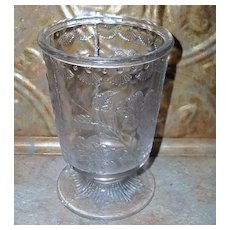Vintage Nova Scotia  Pressed Glass Spooner Floral Pattern