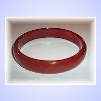 A Vintage Faceted Glass Bangle Bracelet  Dark Ice Tea in Color