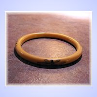 Pretty Delicate Flapper Girl Era Celluloid Bangle Bracelet Black Accenting
