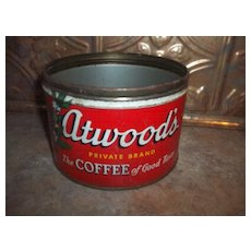 Vintage Tin Advertising Coffee Can Atwood's Private Blend