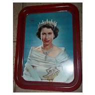 Vintage Royalty Metal Ware  Coronation  Tray C. 1953  Portrait Queen Elizabeth