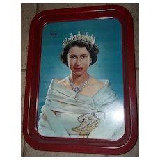 Vintage Royalty Metal Ware  Coronation  Tray C. 1953  Portrait Queen Elizabeth