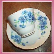 Pretty Vintage Blue Floral Motif Tea Cup & Saucer Colclough England