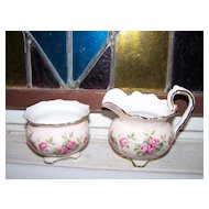 Vintage  Bone China Aynsley England Creamer & Sugar Rose Motif