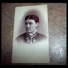 A Collectible Vintage ODD Portrait  Carte De Visite Lovely Lady Unusual Hair  Jewelry