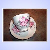 Pretty Vintage Pink Floral Motif Royal Vale Tea Cup & Saucer