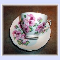 A Vintage Pink FLoral Motif Tea Cup & Saucer Royal Vale England