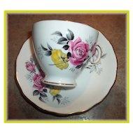 Pink & Yellow Rose Floral Motif Tea Cup & Saucer Royal Vale