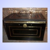 Advertising Tin Chest Cash Box Harry W. De Forest Direct Importer & Tea Blender St. John N.B.
