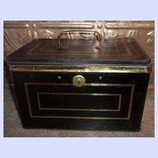 Advertising Tin Chest Cash Box Harry W. De Forest Direct Importer & Tea Blender St. John N.B.
