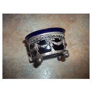 Decorative Silverplate Cobalt Blue Glass Open Salt / Mustard