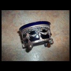 Decorative Silverplate Cobalt Blue Glass Open Salt / Mustard