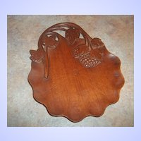 A Beautiful Vintage carved Wood Grape Vine Leaf  Tray