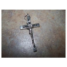 Vintage Skull & Crossbones Ebony Wood Cross Crucifix Germany
