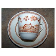 Vintage Furnivals Demi-Tasse Brown Quail Tea Cup & Saucer