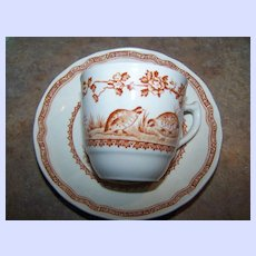 Vintage Furnivals Demi-Tasse Brown Quail Tea Cup & Saucer