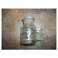 Vintage Glass Apothecary Stating OL. EUCALYPT  Ground Stopper Top