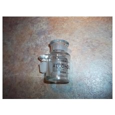 Small Vintage Glass ALCOHOL Apothecary  Pharmacy Chemist Jar