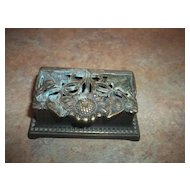 Vintage  Nouveau Style Sunflower & Leaf Brass Stamp Holder Box Home Decor Accent