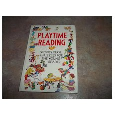 A Vintage H.C. Childrens  Book Play Time Reading Stories Verse & Puzzles