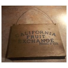 Advertising  Wood Crate Sign CALIFORNIA Fruit Exchange