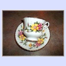 Pretty Vintage Yellow & Pink Floral Motif Tea Cup & Saucer Paragon