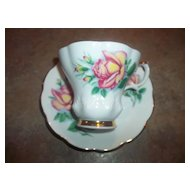 "Vintage Rose Floral Motif Tea Cup & Saucer Set ""Anne"" Royal Albert"
