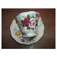 Vintage Roses Floral Motif Tea Cup Saucer Set Royal Albert