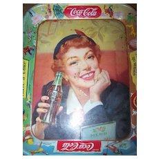 Vintage C. 1950's Coca Cola Tray Thirst Knows No Season Menu Girl