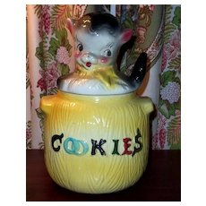 American Bisque Puppy in Pot Cookie Jar Yellow Bottom