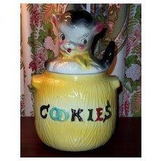 American Bisque Puppy in Pot Cookie Jar Yellow Bottom