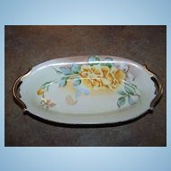 Hand Painted Porcelain Nippon Yellow Rose Floral Motif  Dish