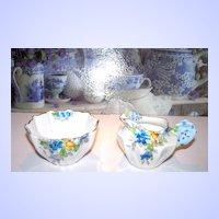 Floral /  Flower Handle Creamer & Sugar Porcelain Displays Well!