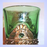 Emerald Colorado Green Souvenir Glass Mug 1921 Toronto Exhibition